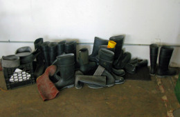 Workers' boots in the brewery where Kelly Taylor is the master brewery for Heartland Brewery and where he runs his own company, Kelso.