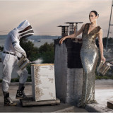 David Selig's girlfriend Cecilia Dean posing for Harper's Bazaar with the bees on the roof.